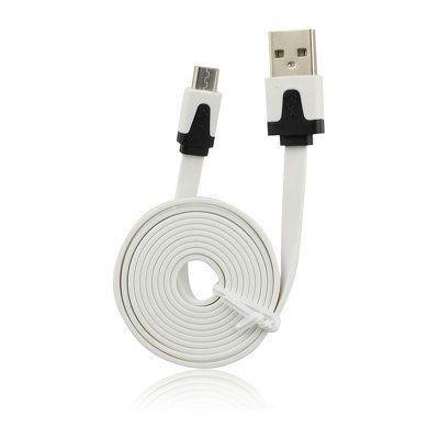 USB kábel  Flat  - micro USB  2M biely