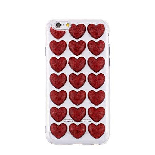 3D valentínske silikónové puzdro Heart 3 pre Apple iPhone 6/6s červené