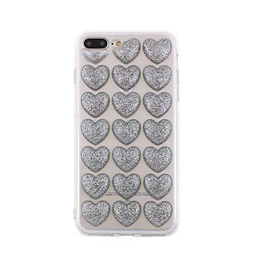 3D valentínske silikónové puzdro Heart 4 pre Apple iPhone 7/8 strieborné