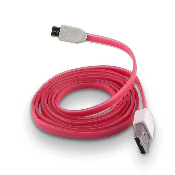 FOREVER micro USB kábel ružový silikónový plochý