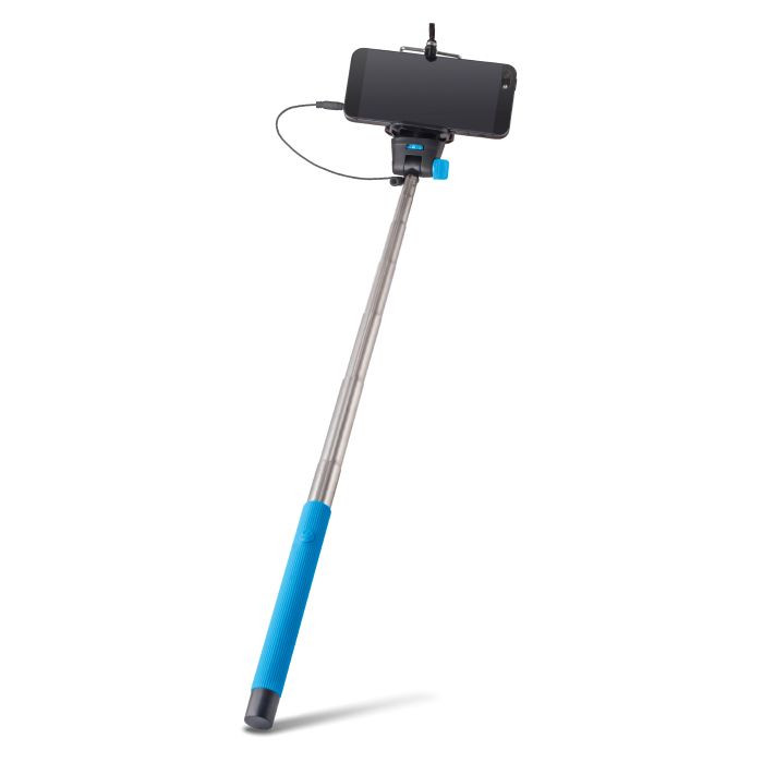 Selfie tyč FOREVER s audio káblom MP-400 modrá