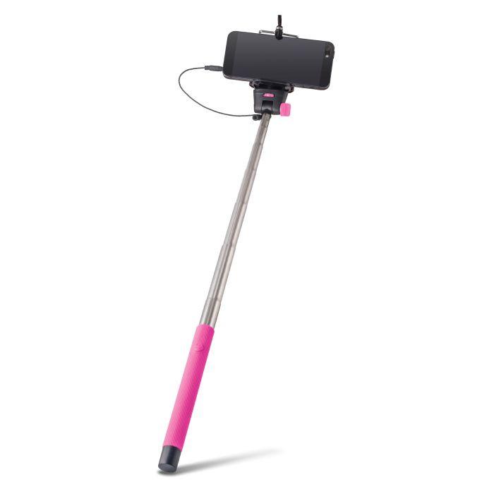 Selfie tyč FOREVER s audio káblom MP-400 ružová