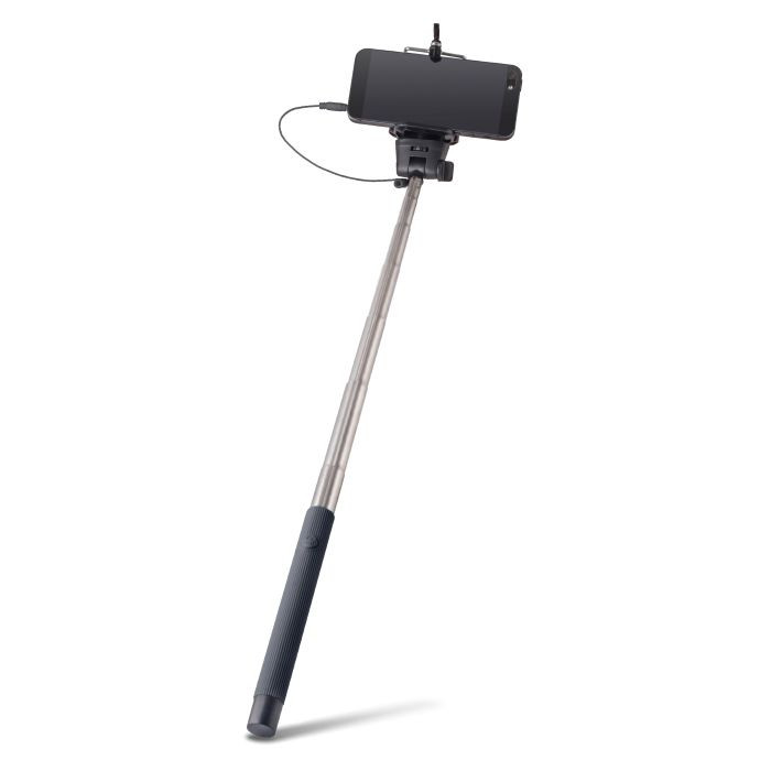 Selfie tyč FOREVER s audio káblom MP-400 čierna