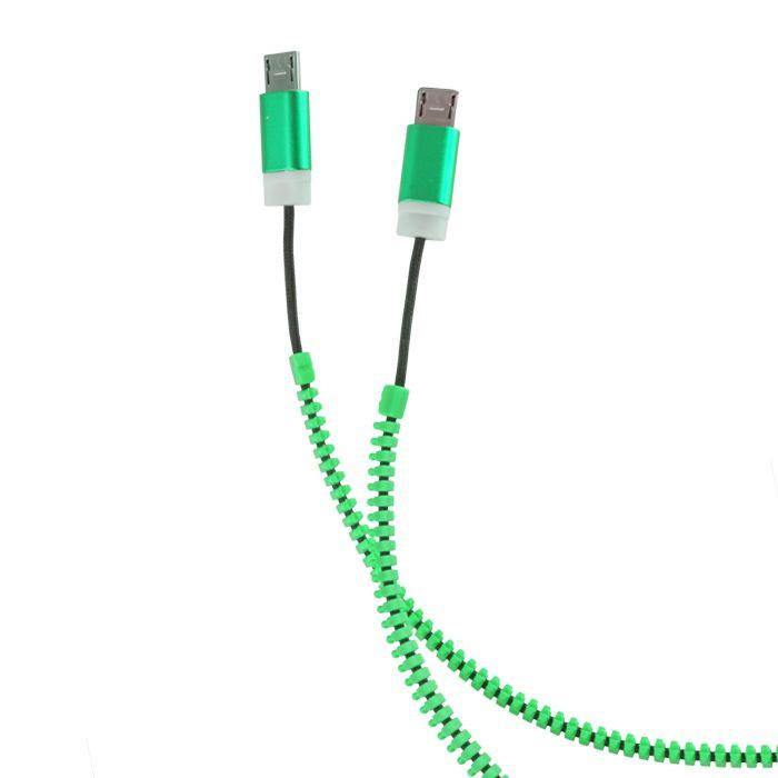 FOREVER 2v1 micro USB kábel zips zelený