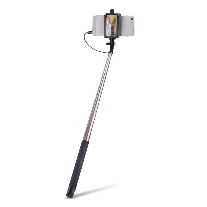 Selfie tyč Forever so zrkadlom a zvukovým káblom MP-410 čierna