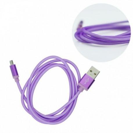 USB kábel Metal micro USB univerzálny fialový