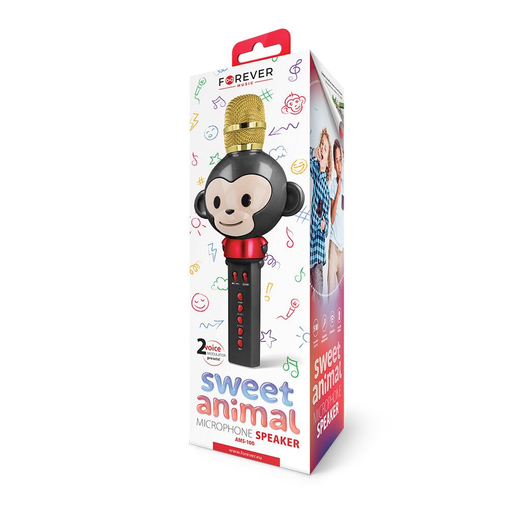 Mikrofón s bluetooth reproduktorom Forever Animal AMS-100 čierny