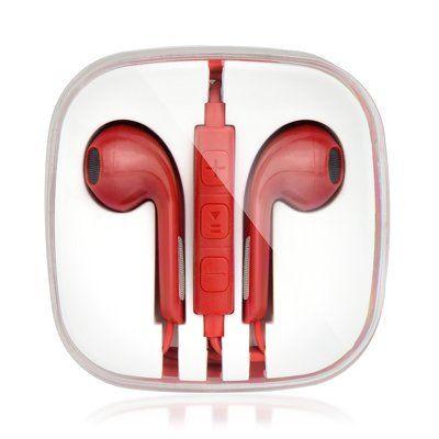 Handsfree slúchadlá Stereo pre Apple iPhone červené