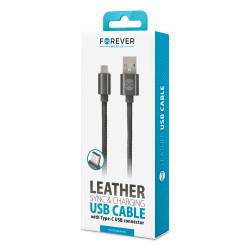 Kábel Forever USB type-C kožený čierny