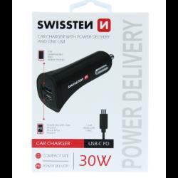 Adaptér Swissten Cl USB-C 2,4 A + kábel micro USB čierny