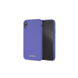 GUHCI61LSGLUV Guess Silicone Gold Logo Pouzdro Purple pro iPhone XR