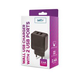 Sieťová nabíjačka Setty 2 USB 2,4A čierna