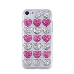 3D valentínske silikónové puzdro Heart 5 pre Apple iPhone 7/8 ružovo strieborné