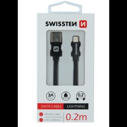 Kábel USB/Lightning (8 pin) Swissten 3.0A 0,2 m čierny