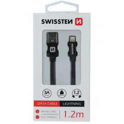 Kábel USB/Lightning (8 pin) Swissten 3.0A 1,2 m čierny