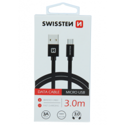 Kábel USB/Micro USB Swissten 3.0A 3m čierny