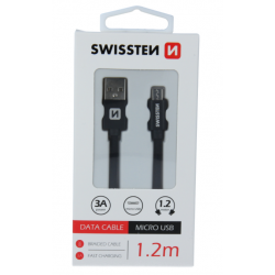 Kábel USB/Micro USB Swissten 3.0A 1,2 m čierny