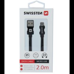 Kábel USB/Micro USB Swissten 3.0A 2m čierny