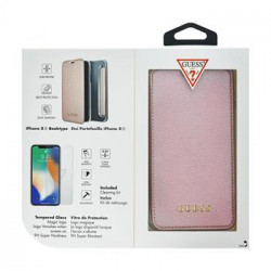 GUBPBKTI61IRG Guess Bundle Leather Book Case Iridescent Rose Gold + Tempered Glass pro iPhone XR
