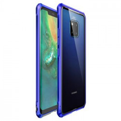 Luphie King of Snaps Magnetic Aluminium Bumper Case Glass Blue pro Huawei Mate 20 Pro