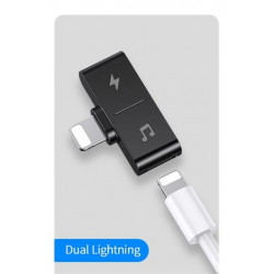 USAMS SJ384 Dual Lightning Dobíjecí & Audio Adapter Black (EU Blister)