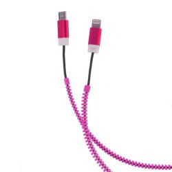 FOREVER 2v1 micro USB kábel zips micro USB & Lightning Iphone 5 ružový