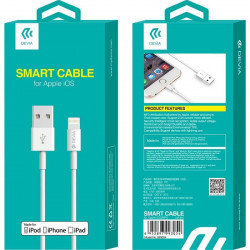 Kábel USB - Lightning Devia cable Smart iPhone MFI 1m 2,4 A biely
