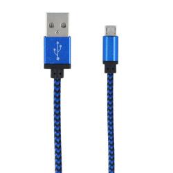 Braided micro usb kábel modrý