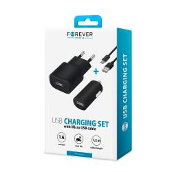 Nabíjací set Forever USB 1 A s káblom micro USB čierny