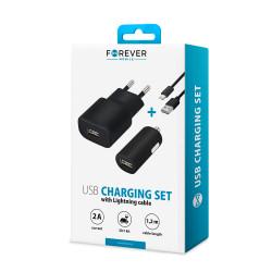 Nabíjací set Forever USB 2 A s lightning káblom čierny