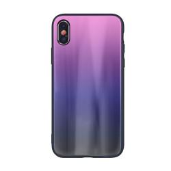 Plastové puzdro Aurora Glass pre Huawei Y6 2018 ružovo- čierne