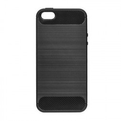 Pevné silikónové puzdro Forcell Carbon pre Apple iPhone 5/5s/SE čierne