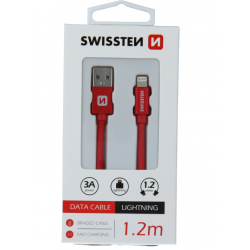 Kábel USB/Lightning (8 pin) Swissten 3.0A 1,2 m červený