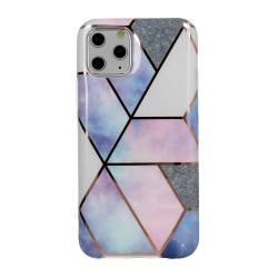 Silikónové puzdro na Apple iPhone 11 Cosmo Marble modro ružové