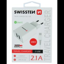 Nabíjačka Swissten Smart IC 2 x USB + USB-C kábel, 2.1A, 10,5W biela