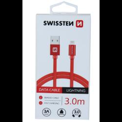 Dátový kábel opletený Swissten USB/Lightning (8 pin) 3.0A, 3.0m červený