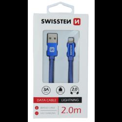 Dátový kábel opletený Swissten USB/Lightning (8 pin) 3.0A, 2.0m modrý