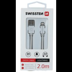 Dátový kábel opletený Swissten USB/Lightning (8 pin) 3.0A, 2.0m strieborný
