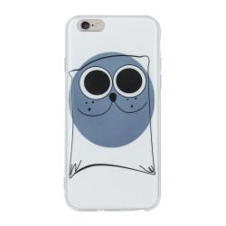 Silikónový kryt na iPhone 8 Plus Drawing TPU Mačka tmavo modrý