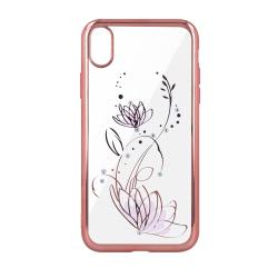 Silikónové puzdro Lotus pre Apple iPhone XR ružovo- zlaté