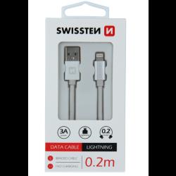 Kábel USB/Lightning (8 pin) Swissten 3.0A 0,2 m strieborný