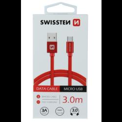 Kábel USB/Micro USB Swissten 3.0A 3m červený