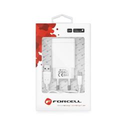 Sieťová nabíjačka Forcell s káblom USB typ-C - 2,4 A biela