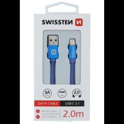 Kábel Swissten USB/USB-C 3.0A 2 m modrý