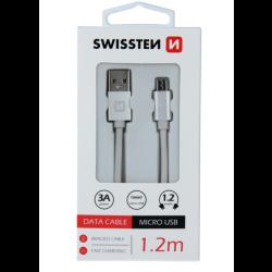 Kábel USB/Micro USB Swissten 3.0A 1,2 m strieborný