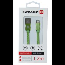 Kábel USB/Lightning (8 pin) Swissten 3.0A 1,2 m zelený