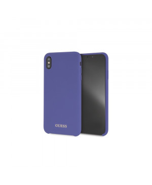 GUHCI65LSGLUV Guess Silicone Gold Logo Pouzdro Purple pro iPhone XS Max