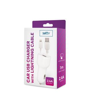 Autonabíjačka Setty USB 2,4A + lightning kábel 1m biela