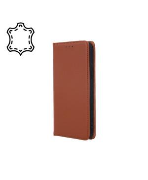 Kožené diárové puzdro na Apple iPhone 13 Genuine Smart Pro hnedé