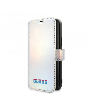 GUFLBKN65BLD Guess Iridescent Book Pouzdro pro iPhone 11 Pro Max Silver (EU Blister)